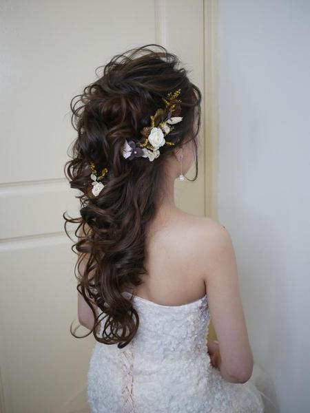 浪漫甜美.韓系編髮.乾燥花造型