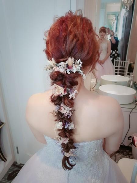 新秘rita 新娘秘書 bride-婷婷 乾燥花 造型推薦 球球造型 甜美可愛 長頭紗