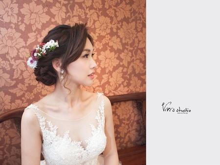 不變的愛~桔梗花!高質感的白紗進場造型