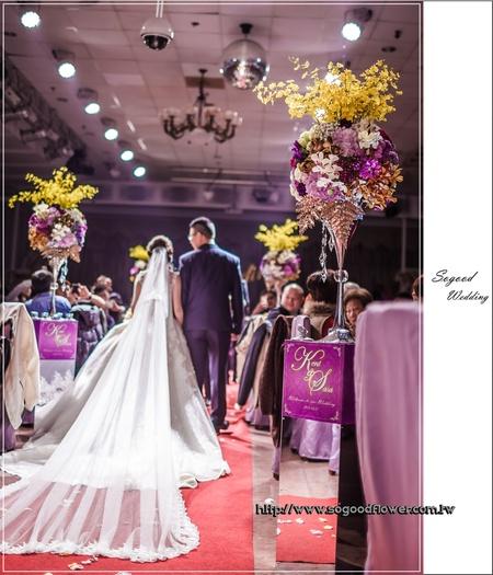 皇帝嶺婚宴會館婚禮佈置『時尚華麗風-紫金色』婚禮...1050313