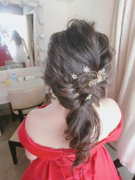 新秘rita|新娘秘書|bridr-佳玲|側邊捲髮|公主頭|好媳婦髮型|訂婚造型|乾燥花
