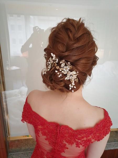 新秘rita 新娘秘書 bride-美君 白紗迎娶 新娘造型 編髮 乾燥花 浪漫造型