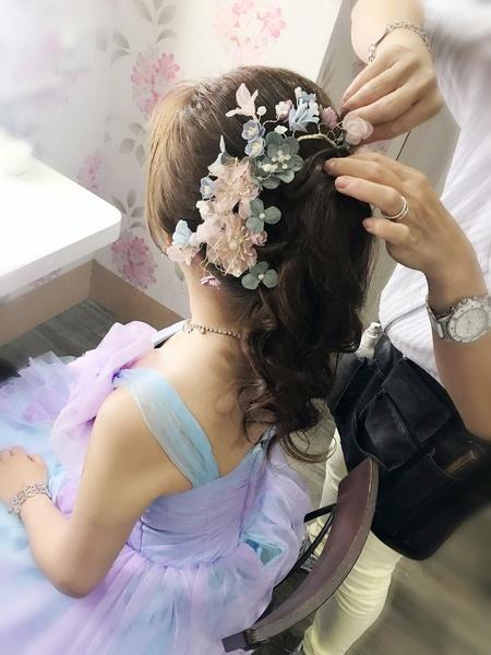 饅頭爸新秘團隊-娃娃 ❤ 琪 渲染紫粉色送客晚服