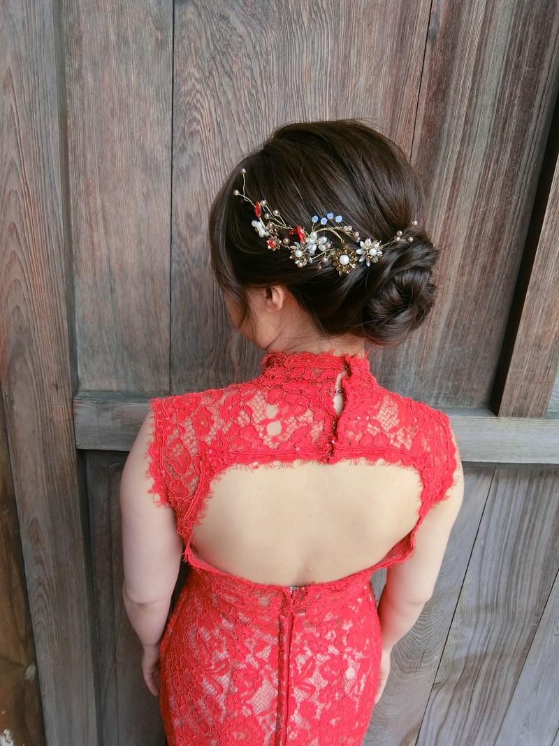 台中 婚紗 比堤婚紗 推薦新人:言愷&Ellen Fan 旗袍領紅色晚禮服