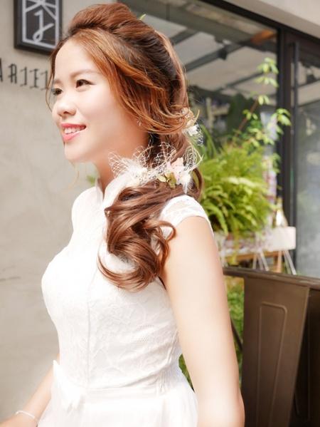 饅頭爸新秘團隊-娃娃 ❤ Yen 短髮新娘接髮白紗造型