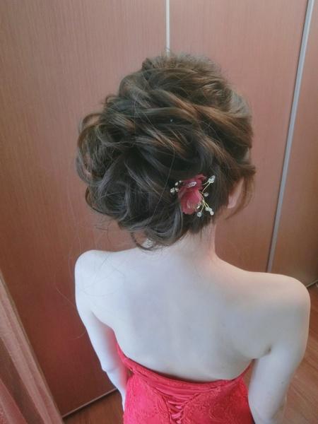 新秘rita|新娘秘書|bride-萱|馬尾造型|蕾絲長頭紗|好媳婦髮型|盤髮