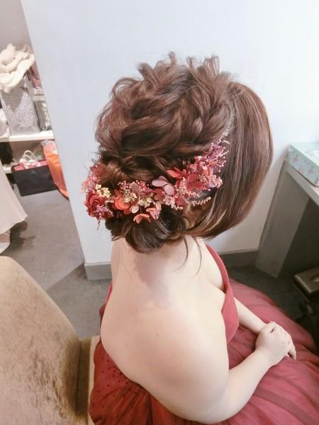 新秘rita|新娘秘書|bride-昱均|側邊盤髮|編髮|乾燥花|低馬尾|長頭紗