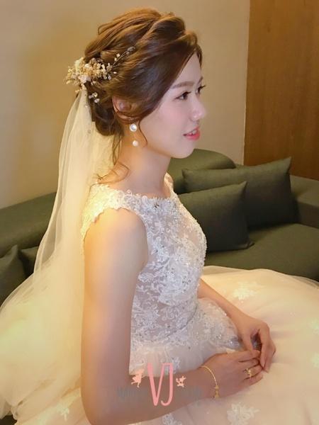 浪漫白紗低盤髮+韓風低馬尾3/30幸霖
